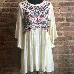 Lined Cream Embroidered Tunic